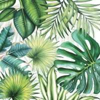 Papierserviette - klein - Tropical Leaves white