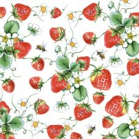 Papierserviette - groß - Strawberries all over white