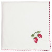 Stoffserviette - Strawberry red embroidery