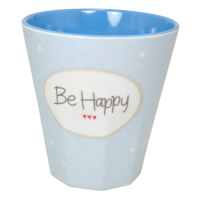 "Becher Melamin - Blau ""Be Happy"""