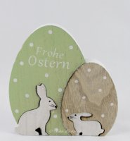 Osterei - Holz Frohe Ostern mit Hasen