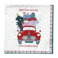 Papierserviette - klein - Christmas car red
