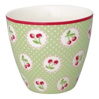 Latte Cup - Cherry berry pale green
