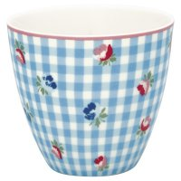 Latte Cup - Viola check pale blue