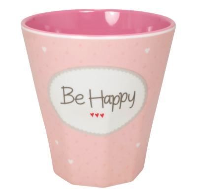 "Becher Melamin - Rosa ""Be Happy"""